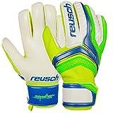 Guanti Portiere Calcio Calcetto Reusch Serathor 2017 Goalkeeper Gloves (Electric Blue - Green Geko, 9,5)