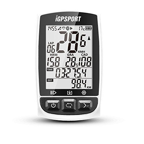 GPS Bike Computer with Large Screen ANT+ Function iGPSPORT iGS50E Cycle Computer With Big Screen Support Heart Rate Monitor and Speed Cadence Sensor Connection - White