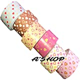 #2: A'SHOP Colorful & Attractive Adhesive Decorative Paper Tapes with Filled and Plain HEARTS for Decorative Purposes like Art and Crafts, Gifts Wrapping (20MM x 5MTR) Printed Paper Tapes for School Kids, Children, Boys Or Girls(Set of 6 Tapes)
