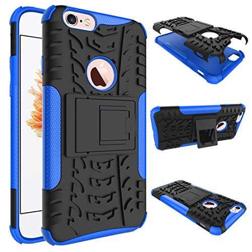 "iPhone 6 Plus Armor Case , VMAE Dual Layer Antiskid Hybrid Rugged Heavy Duty Hard Back Cover Anti Slip With Built-In Kickstand Shock Proof Case for iPhone 6 Plus / iPhone 6S Plus 5.5"" (Purple) Blue"