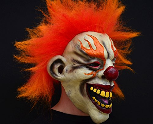 Clown Unheimlich Böse Kostüm - Unheimlich gruselig Halloween Clown böse Kostüm Latex-Maske - Flamme Clown