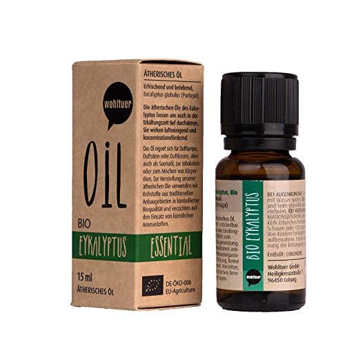 Wohltuer Bio Eukalyptusöl Ätherisches Öl Eukalyptus Bio (15ml) Organic Essential Oil Eucalyptus Duftöl Aromaöl (Rosen-aroma)