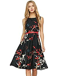 db3ca00e33c52 DressLily Vintage Rockabilly Plum Floral Print Belt Retro Swing Tee  Cocktail Women Dress