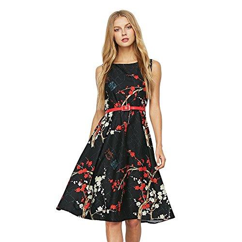 ckabilly Plum Floral Print Belt Retro Swing Tee Cocktail Women Dress,Black,M (Womens Kirche Anzüge Unter 100)