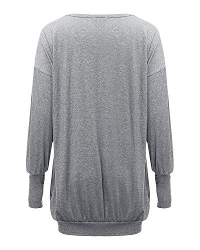 Kinikiss Damen V-Ausschnitt Lose Langarm Oberteile Oversize Lang Sweatshirt Tops Grau