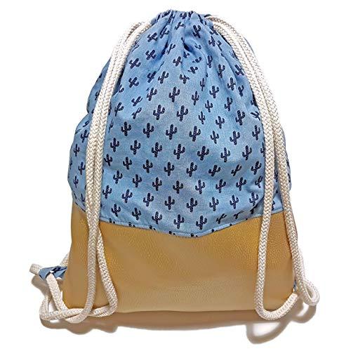Turnbeutel - Kaktus Gold - Rucksack mit Kunstleder - 3 Größen verfügbar - Handarbeit - Tasche Sportbeutel Gym Bag Jutebeutel Beutel