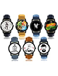 Snapcrowd Attractive Stylish Sport Look Combo Of 7 Analogue Multicolor Dial Men's And Boy's Watch