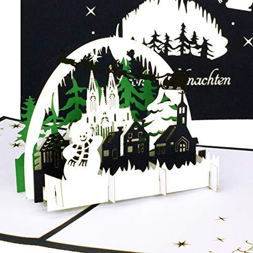 """Weihnachtkarte \""""Winter Panorama mit Schneemann\"""" 3D Pop-Up Karte \""""Winterlandschaft - Frohe Weihnachten\"""" Blau"""