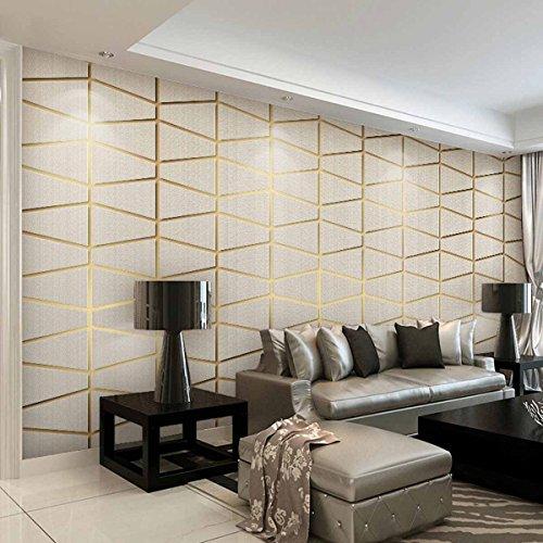 HLMYYO 3D Tapete moderne minimalistische geometrische Figur Hirschleder Vliestapete Schlafzimmer Relief geprägte Hintergrund Wand Kaufen Sie drei Get One Free (Color : Shallow khaki)