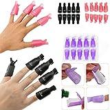10pcs Plastique Vernis gel retrait caches réutilisables Pince à ongles nail Soak Off Caps (Violet, Rouge, Noir)