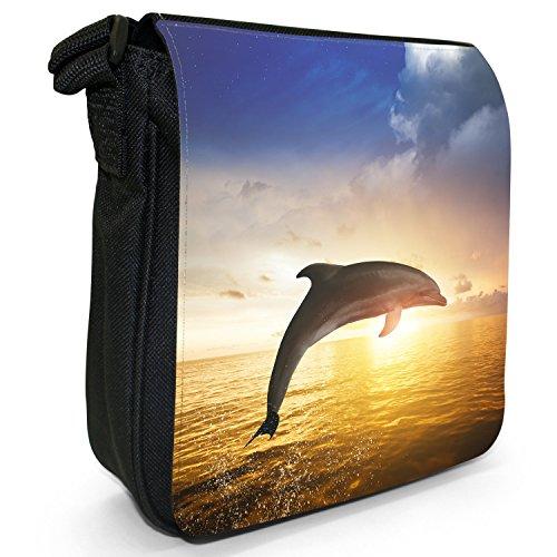 Delfini piccolo nero Tela Borsa a tracolla, taglia S Dolphin Jumping In The Sunset