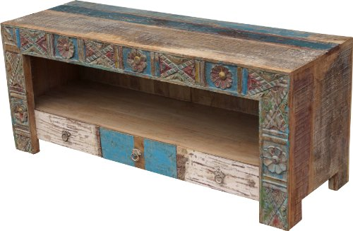 Guru-shop tavolo tv 3 cassetti antiquewhite (jh0-276), 56x132x45 cm, cassettiere e credenze