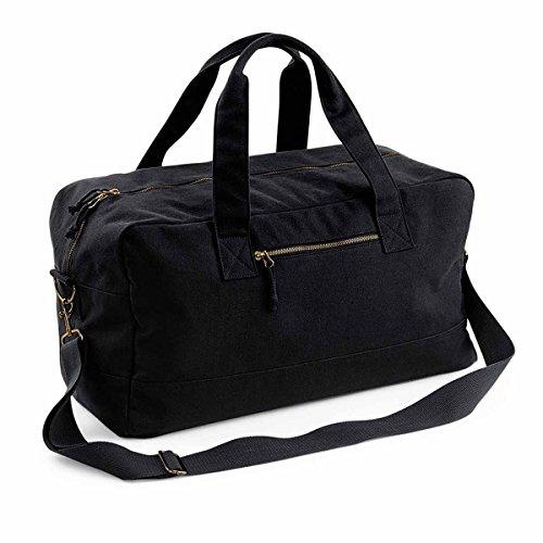 bag-base–Sacchetto di viaggio In Tela–Cotone–Borsa Week End–bg640 blu Bleu marine unica nero