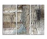 130x90 cm 3 teiliges Leinwandbild Fotoleinwand grau beige schwarz Striche! Abstrakte Kunst für jede kahle Wand! Qualität von bestforhome!
