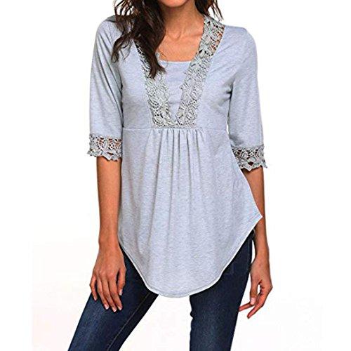 (JUTOO Damen Casual Halbarm Tops O Neck T-Shirt Blusen Tunika Bluse Shirts(Grau,EU:40/CN:M))