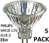 Philips 5Pack halogène 12V 35W MR16 GU5.3 36D 4000Hrs Dimmable halogène dichroïque 58842000...