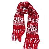 NPRADLA 2018 Schal Weihnachten Damen Winter XXL Unisex Weihnachten Rentier Schneeflocke Schal Warm Thick Winter Quasten(One Size/200CM*20CM,Rot-1)