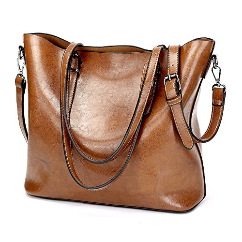GoodPro Women Handbags Fashion Handbags for Women Simple PU Leather Shoulder Bags Messenger Tote Bags GP285 (Brown)