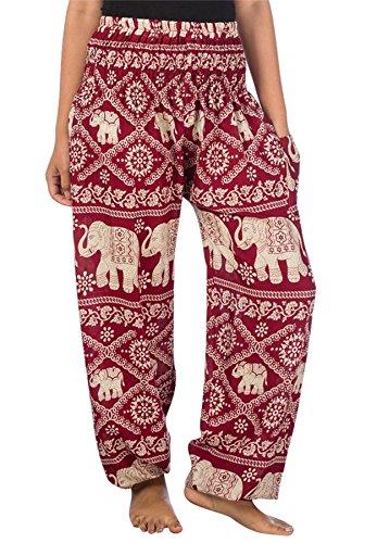 Lofbaz Mujer Elefantes Impresión Smocked Cintura Boho Pantalones Borgoña M