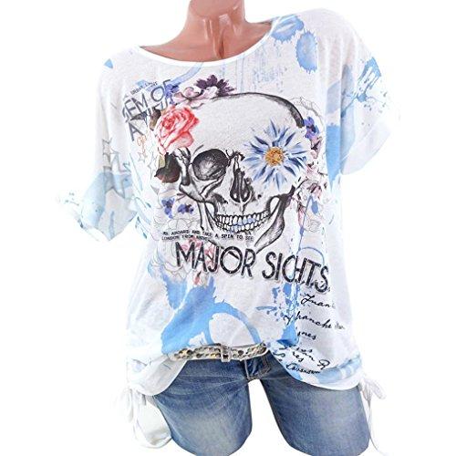 MRULIC Nuue T-Shirt mit Bändern Beliebte Skull Head Muster Bluse für Damen Sommer Sweatshirt(Blau,EU-40/CN-L)