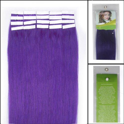 40,6 cm Bandes adhésives Extensions de cheveux humains droite Couleur Lila/violet clair 30 g 20 pièces Beauté Cheveux Style