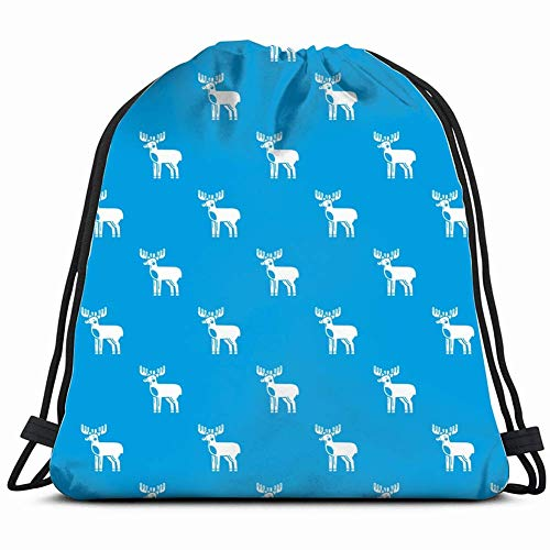 DHNKW elk Pattern Blue Repeat Signs Symbols Gym Sack Bag Drawstring Sport Beach Travel Outdoor Backpack for Women 17X14 Inch -