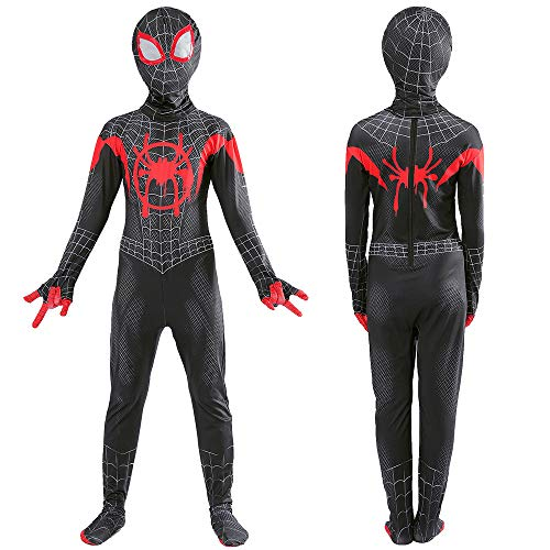 Realistische Kostüm Spiderman - WEDSGTV Kids Superheld Spiderman Kostüme Parallel Universe Realistische Comics Halloween Cosplay Kostüm Tarnung Spider Man Overall Superhelden Halloween Mottoparty,Child-M