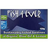 Fish4Ever Sardines In Organic Lemon and Olive Oil 120 g (Pack of 5)