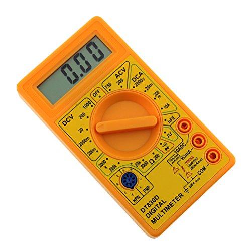 ueetek Digital Multimeter AC DC rechteckschwingung Test Ampere Ohm Probe dt-830d mit Summer Ausgangsstrom Überlastungsschutz LCD (gelb)