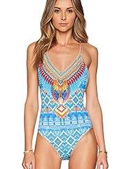 Mujer Bañador Estampado Bohemia Bikini Traje De Baño Para Con Aros Azul Como la imagen XL