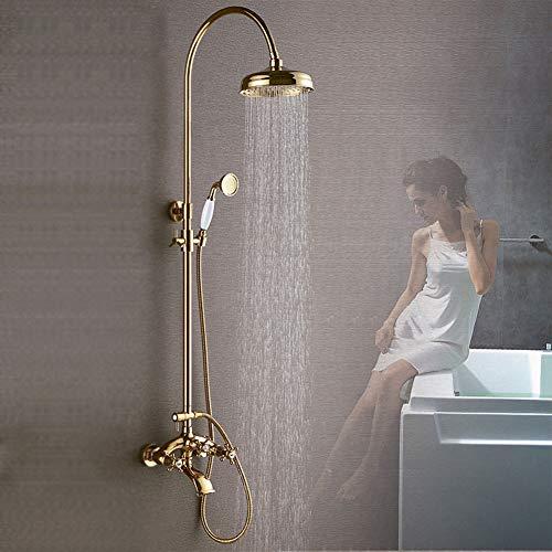 Duschsystem, an der Wand befestigtes Badezimmer-Regendusche-Set Antike Bronze-Regendusche mit...