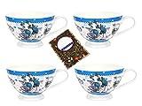 4 caffè tazze con nostalgico Set Latte bellezze al bagno decorazione - Jameson & Tailor 4484 + campione tè