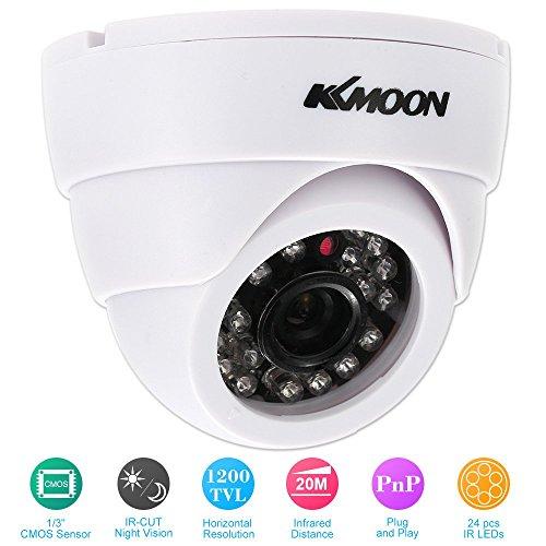 KKmoon Überwachungskamera HD 1200TVL 1/3 Zoll CMOS IR-CUT PAL System Sicherheit CCTV Indoor Nachtsicht, Weiß -