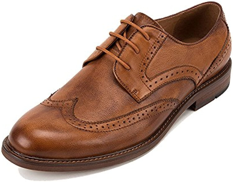 LYZGF Zapatos De Cuero De Encaje Juvenil Tallados Bullock De La Moda Británica De Los Hombres Ocasionales -