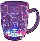 PH Artistic Fibre Glass Beer Mug With Inductive Rainbow Color Disco Led 7 Colour Changing Liquid Activated Lights Multi Purpose Use Mug/Cup 295ml