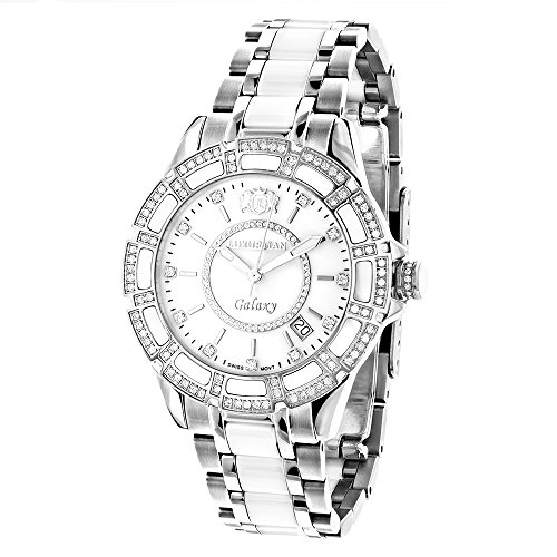 Swiss Quartz Ladies Diamond Watches: Stainless Steel and White Ceramic Watch 1.25ct MOP LUXURMAN Galaxy