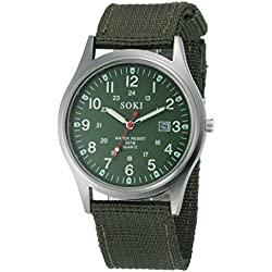 Susenstore Casual Military Army Men's Date Canvas Band Stainless Steel Sport Quartz Wrist Watch