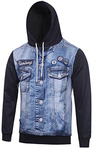 Pizoff Unisex Hip Hop Sweatshirts Kapuzenpullover mit Halloween 3D Digital Print geschenke jeans western vest print, Y1760-43, Gr. - G-star-halloween