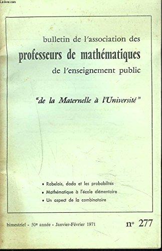 BULLETIN DE LA'ASSSOCIATION DES PROFESSEURS DE MATHEMATIQUES DE L'ENSEIGNEMENT PUBLIC