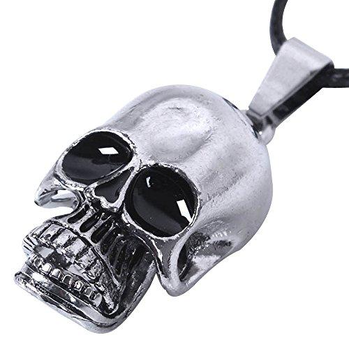 Kangqifen Schmuck Herren Damen Halskette,Titan Stahl Schädel Anhänger mit Leder Kette Verstellbar,Länge 42-47 cm (Flügel Tattoo-schädel)