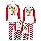 Weihnachten Schlafanzug Familien Outfit Mutter Vater Kind Baby Pajama Langarm Nachtwäsche Deer Print Sleepwear Top Hose Set von Innerternet