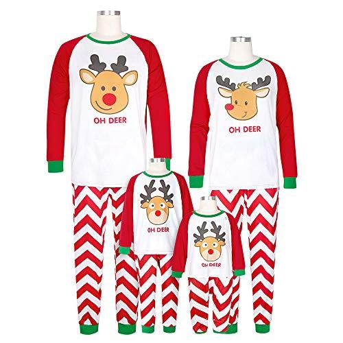 Weihnachten Schlafanzug Familien Outfit Mutter Vater Kind Baby Pajama Langarm Nachtwäsche Deer Print Sleepwear Top Hose Set von ()