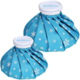 "BELLESTYLE Ice Bag,2 Pack[9"", 6""] Hot And Cold Reusable Ice Bag,Relief Heat Pack Sports Injury Reusable First Aid for Knee Head Leg(Blue Snowflake)"