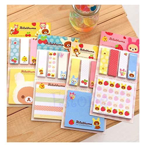 Kanitry Sticker-Lesezeichen, süßes Erdbeerbär, Lesezeichen, Notizzettel