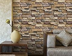 Idea Regalo - 3D retrò Auto-mattone, 100x45cm, adesivi pietra decorazione carta da parati a parete per soggiorno