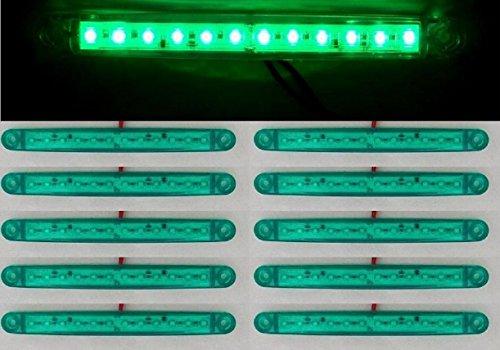 10 x 24 V Vert 12 LED latérales Feux de gabarit ampoules Cabine de camion remorque socle basculant pour châssis