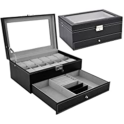 Watch Box Black Leather Jewelry Box Lockable Jewelry Case Glass Top Drawer