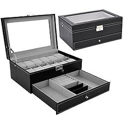 Watch Box Black Leather Jewelry Box Lockable Jewelry Case Glass Top Drawer