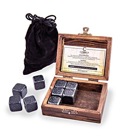 Cumbreca Whisky Steine, Geschenkset aus 9 Granit Eis-Steinen, Kühlung von Ihrem Whisky, Wein und anderen Getränken, Wiederbenutzbare Trink Eiswürfel, Holzbox + Schutzdecke
