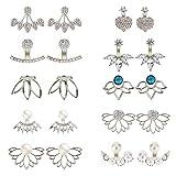 Obiettivo Cloudbed 10 paia orecchio giacche per donne e ragazze, fiore di loto cava orecchino cristallo semplice chic orecchini anteriore posteriore orecchini set, colore: Silver, cod. ED${W1601